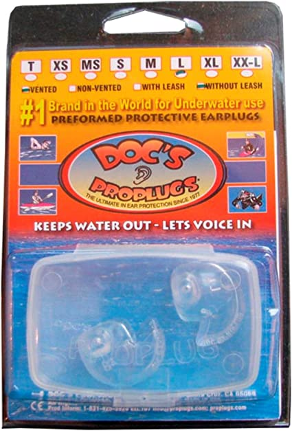 Doc/'s Proplugs Scuba Diving Watersports Ear Plugs Vented Clear NEW All Sizes
