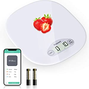 Nicewell Digital Food Scale, Kitchen Scale for Baking, Cooking and Coffee Scale with Nutritional Calculator for Macro, Calorie and Weight Loss with Smartphone App, White