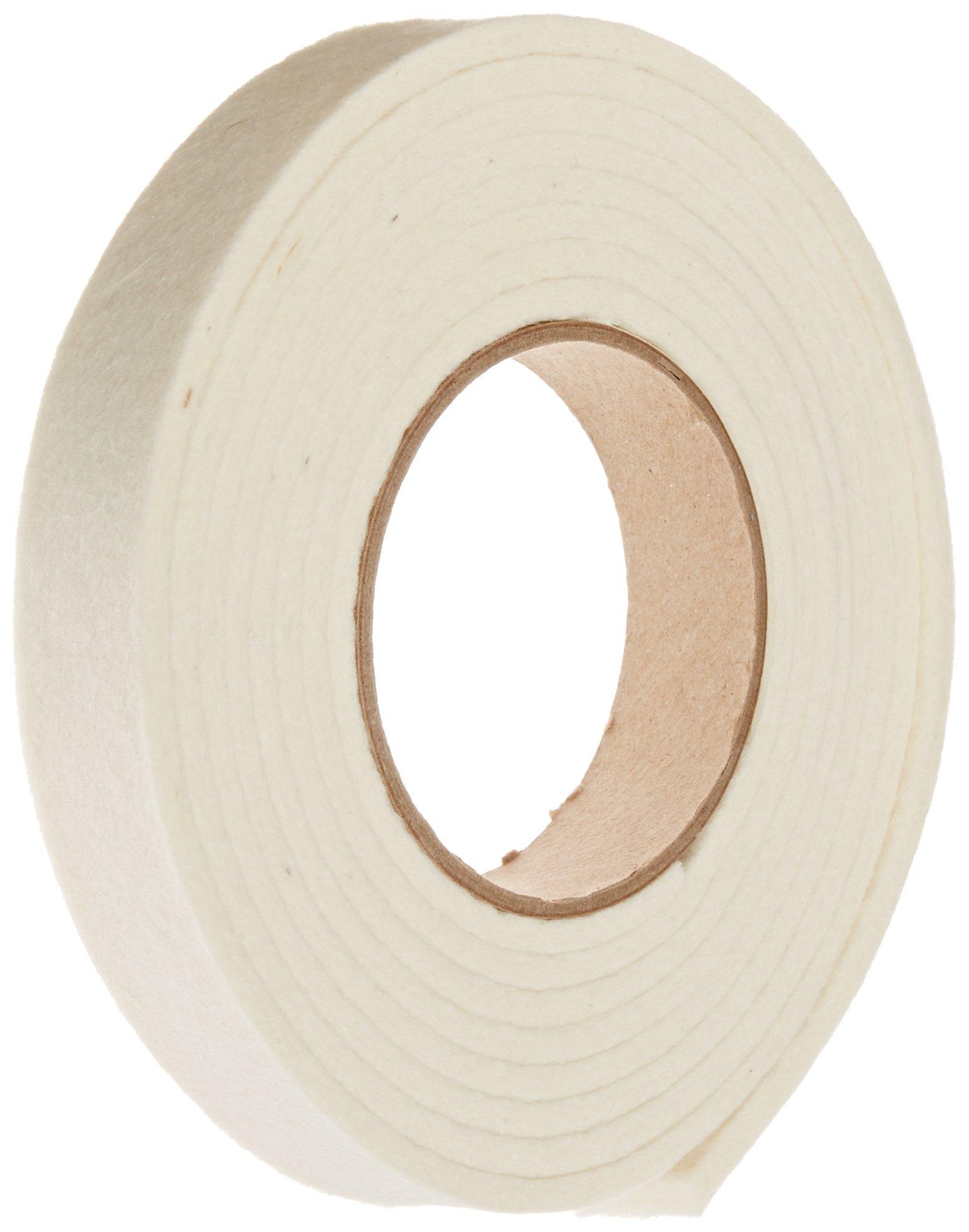 Grade F1 Pressed Wool Felt Strip, White, Meets SAE J314, 3/16'' Thickness, 1'' Width, 10' Length