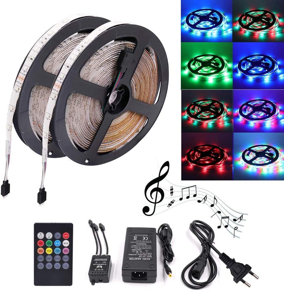 XUNATA Música Ritmo 12V Tiras LED RGB 2835 SMD Para TV Tira de Luces LED Kit Completo con control remoto de 20 teclas (10m 600LEDs (No impermeable))