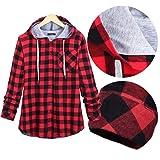 XOWRTE Women's Plaid Long Sleeve Fall Winter Hooded Blouse Jacket Cardigan Outwear Coat