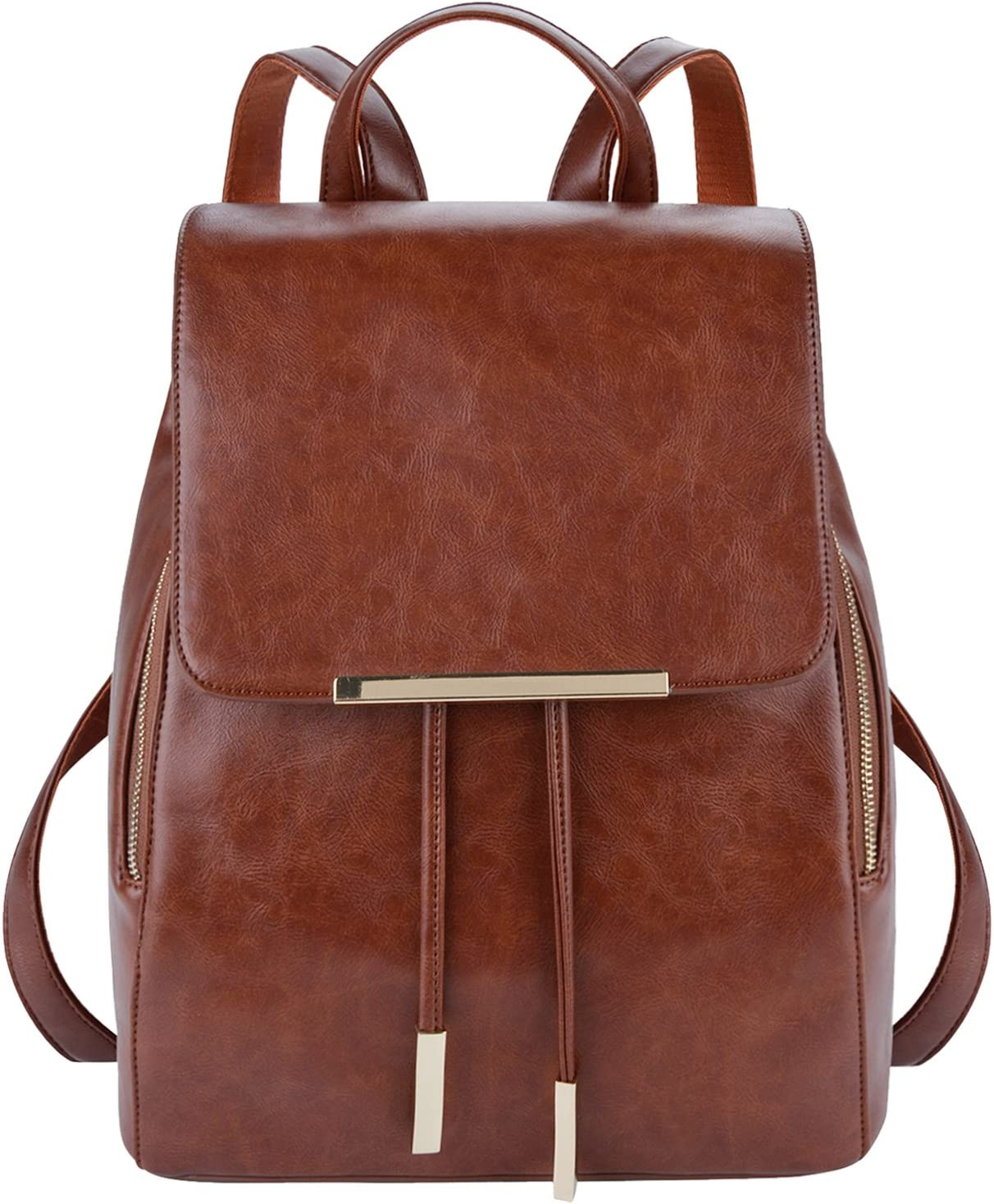 COOFIT Leather Backpack Purse Casual Daypack Backpacks for women Brown(Synthetic Leather)
