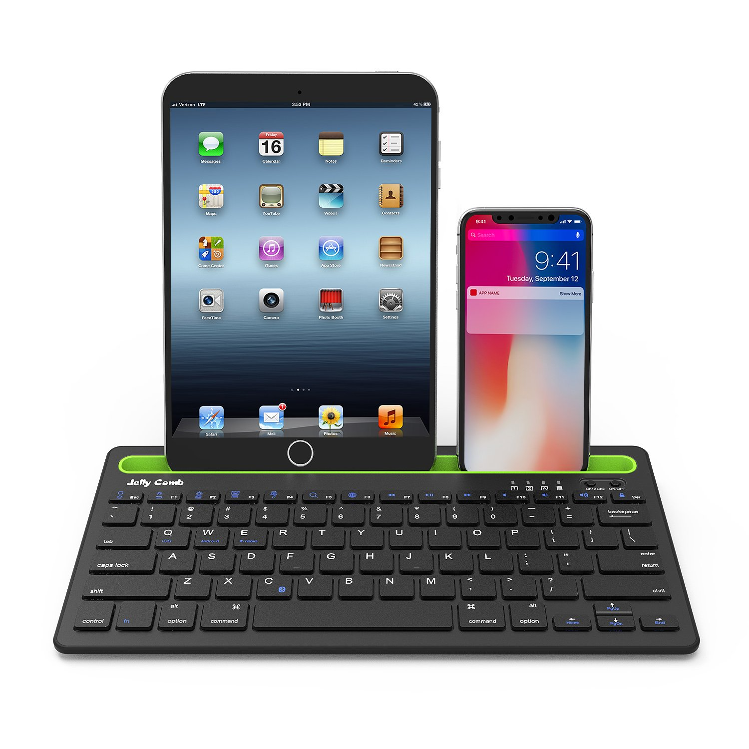 Bluetooth keyboard, Jelly Comb BK230 Dual Channel Multi-device Universal Wireless Bluetooth Keyboard Rechargeable with Sturdy Stand for Tablet Smartphone PC Windows Android iOS Mac (Black and Green) by Jelly Comb (Image #9)