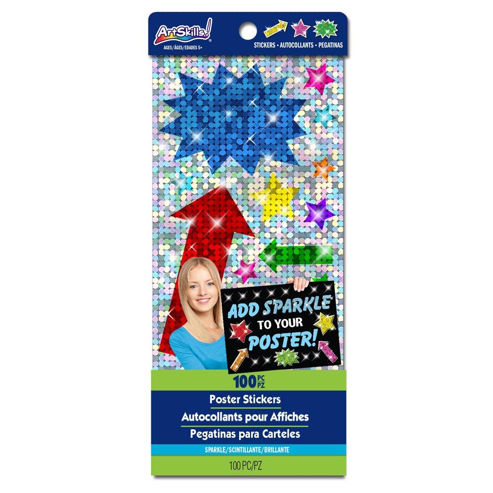 新品 ArtSkills ArtSkills Poster Shape Stickers, by Assorted Colors Stickers, and Shapes, Sparkle, 100 Pieces by ArtSkills B00WZYZAF4, らいふさぽーと:87a25539 --- mvd.ee