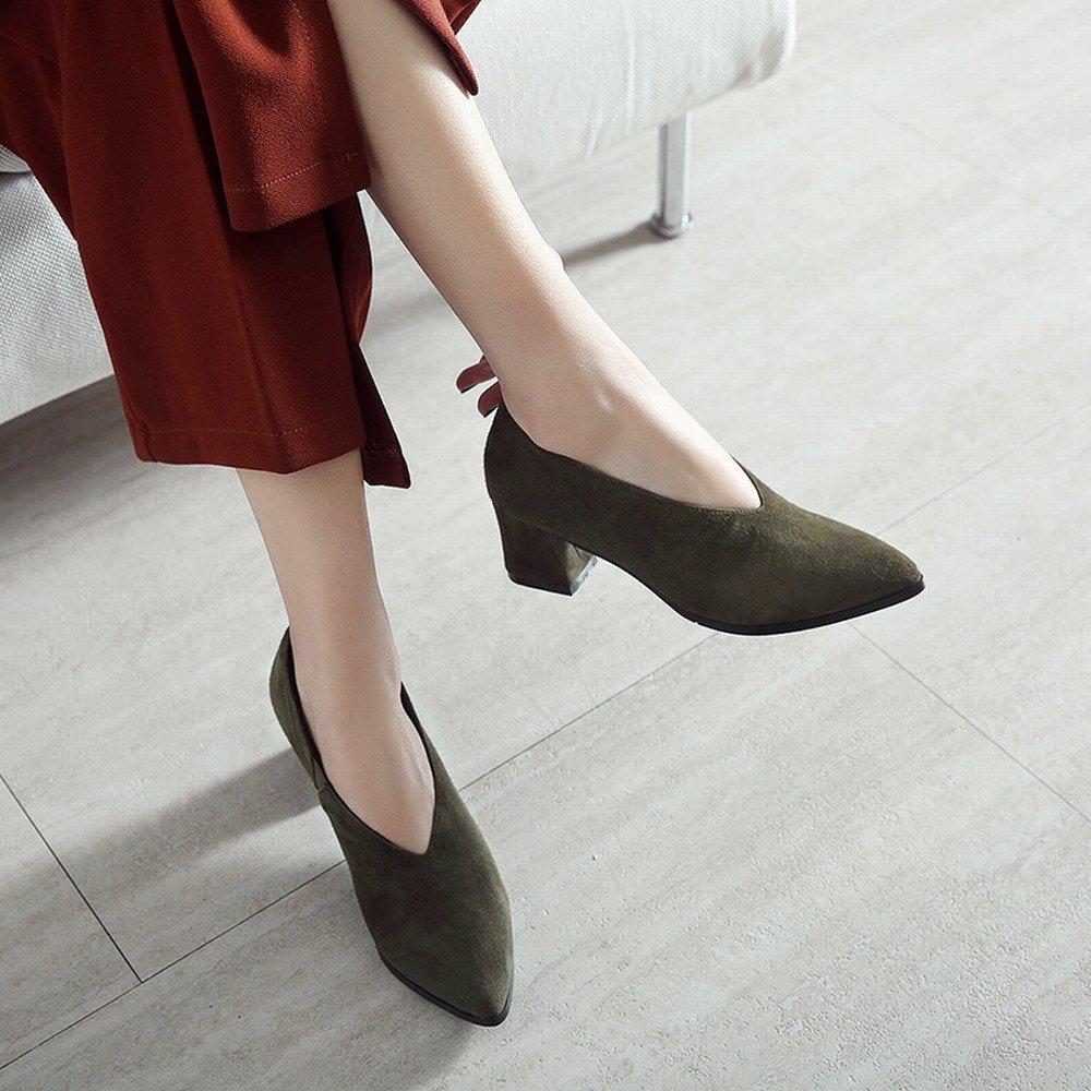 DHG Faule Schuhleder-Schuhfrauen des Frühlingsfrühling-Hohen Grün Absatzes Scheuern Raues mit OL-Schuhen,Army Grün Frühlingsfrühling-Hohen 5cm mit,35 - d35ed1