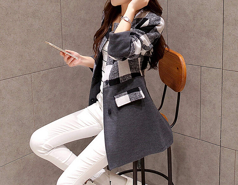 Casaco Feminino Women Long Woolen Coat Plus Size Woolen Plaid Jacket Abrigos Mujer G115 at Amazon Womens Clothing store: