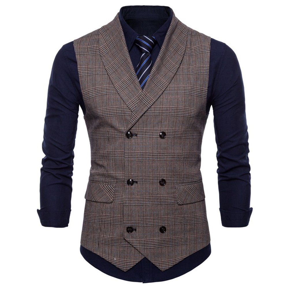 FULIER Men Slim Fit V Neck Double Breasted Business Casual Waistcoat Suit Vest (M, Brown)