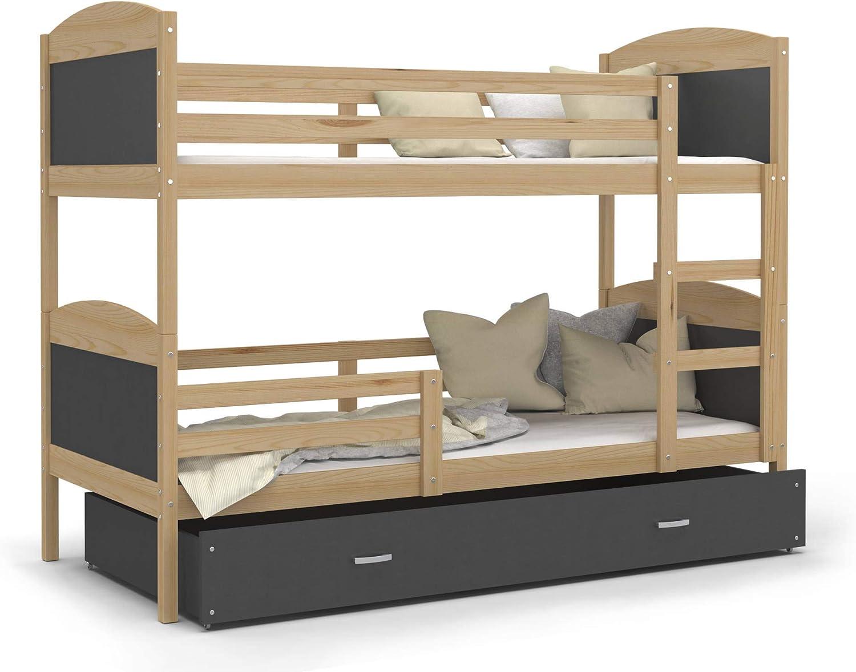 Kids - Cama superpuesta con colchón (190 x 90 cm, Pino Natural + Gris, Incluye 2 somieres y 2 colchones de Espuma de 7 cm)