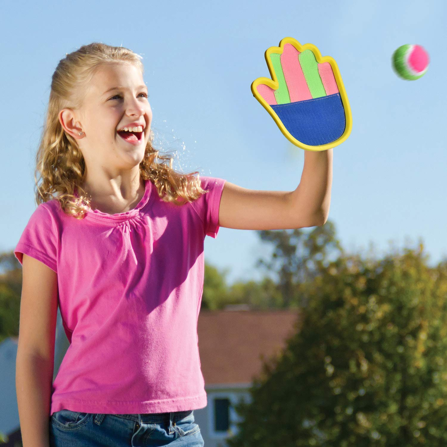 16 PCs Sports Outdoor Games Set with Scoop Ball Toss, Toss and Catch Games, Tennis Racket Sports Toy, Slingshot Rocket Copters Water Toys for Kids by FUN LITTLE TOYS (Image #5)