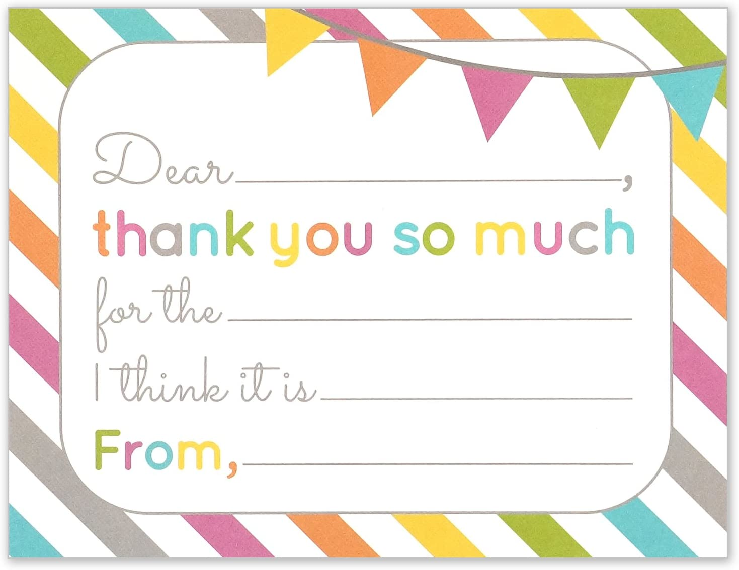 Fill in the Blank Thank You Cards, Kids Birthday or Any Occasion Note Card,  6.6 X 6.6 Inches, Pack of 16