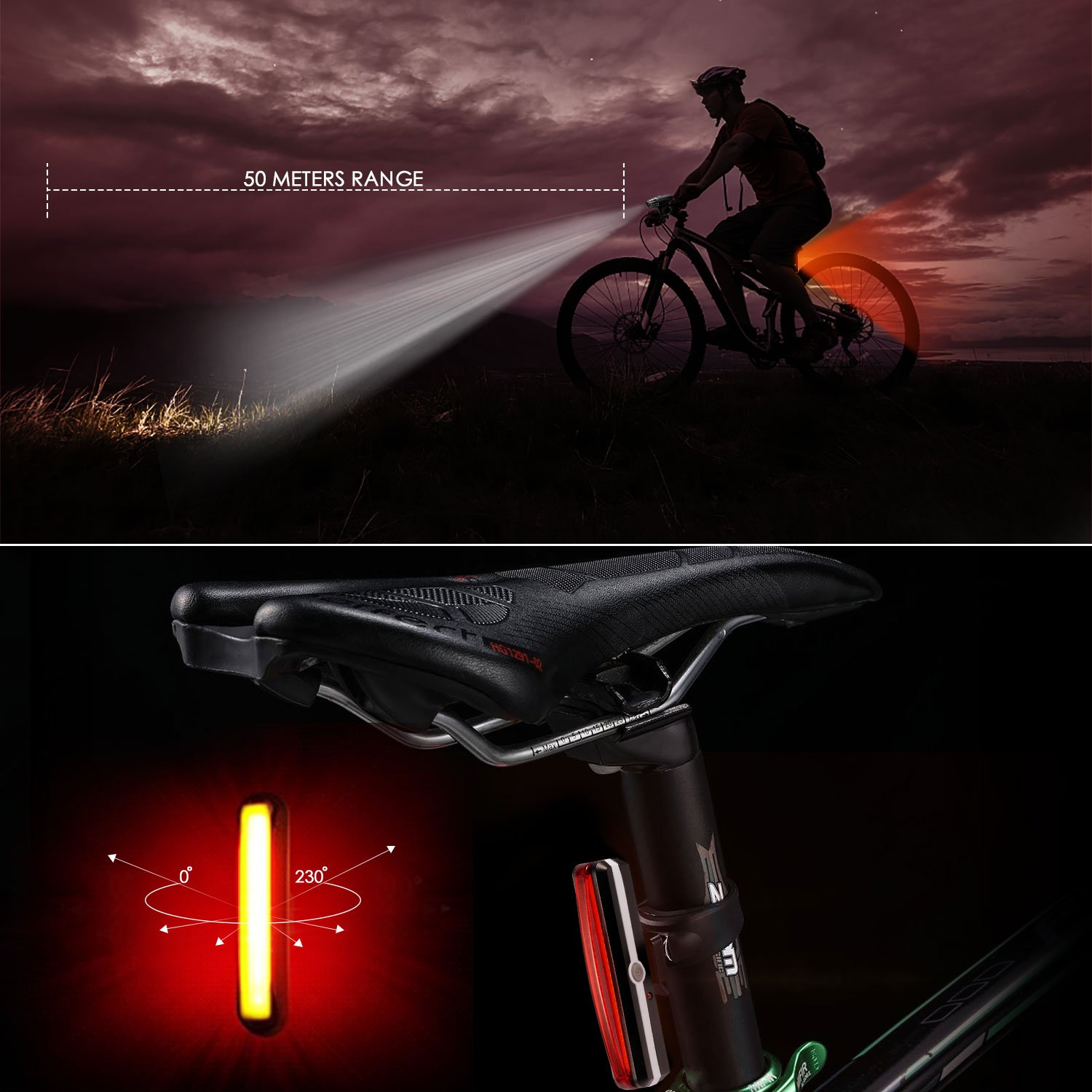 OlymFits USB Rechargeable Bike Light Set LED Tail Light Powerful Lumen Waterproof Bicycle Light Headlight Front and Back Rear Light for Outdoors Cycling Kids
