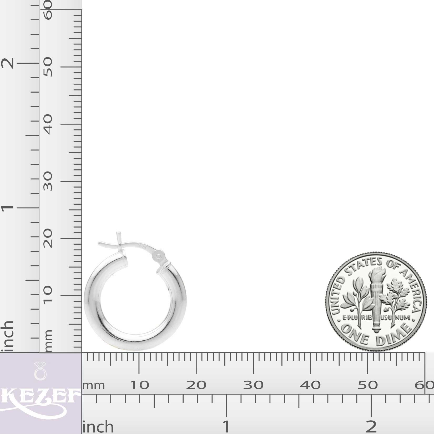 Sterling Silver Hoop Earrings - 3mm x 18mm Click-Top Tube Hoop by KEZEF Creations (Image #3)