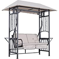 Outsunny 2 Seater Garden Swing Chair Chaise Lounge Loveseat Hammock with Metal Frame, Sun Canopy and Food Trays, Beige