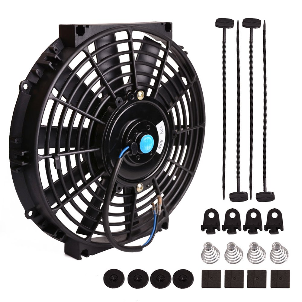 Universal Slim Fan Push Pull Electric Radiator Cooling Fans 12V 80W Engine Fan with Mount Kit (Diameter 8.27 Depth 2.56