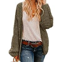 Actloe Women Open Front Chunky Knit Long Sleeve Cardigan Casual Outwear