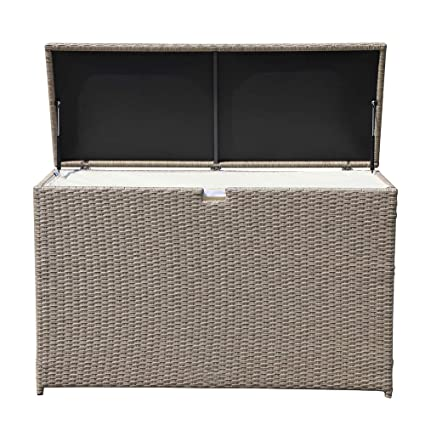 Superieur PATIOROMA Outdoor Storage Box, Patio Aluminum Frame Wicker Cushion Storage  Bin Deck Box, Warm