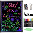 """Slsy Illuminated LED Message Writing Board, 20""""X28"""" Erasable Neon Effect Menu Sign Board with 8 Fluorescent Makers,12Colors F"""