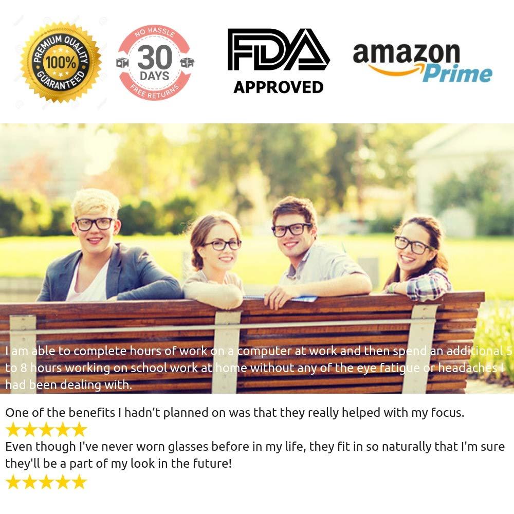Teddith Black Blue Light Blocking Glasses for Women Blue Blocker Computer Glasses Digital Eye Strain Glasses Transparent Lens Reading Glasses FDA Approved