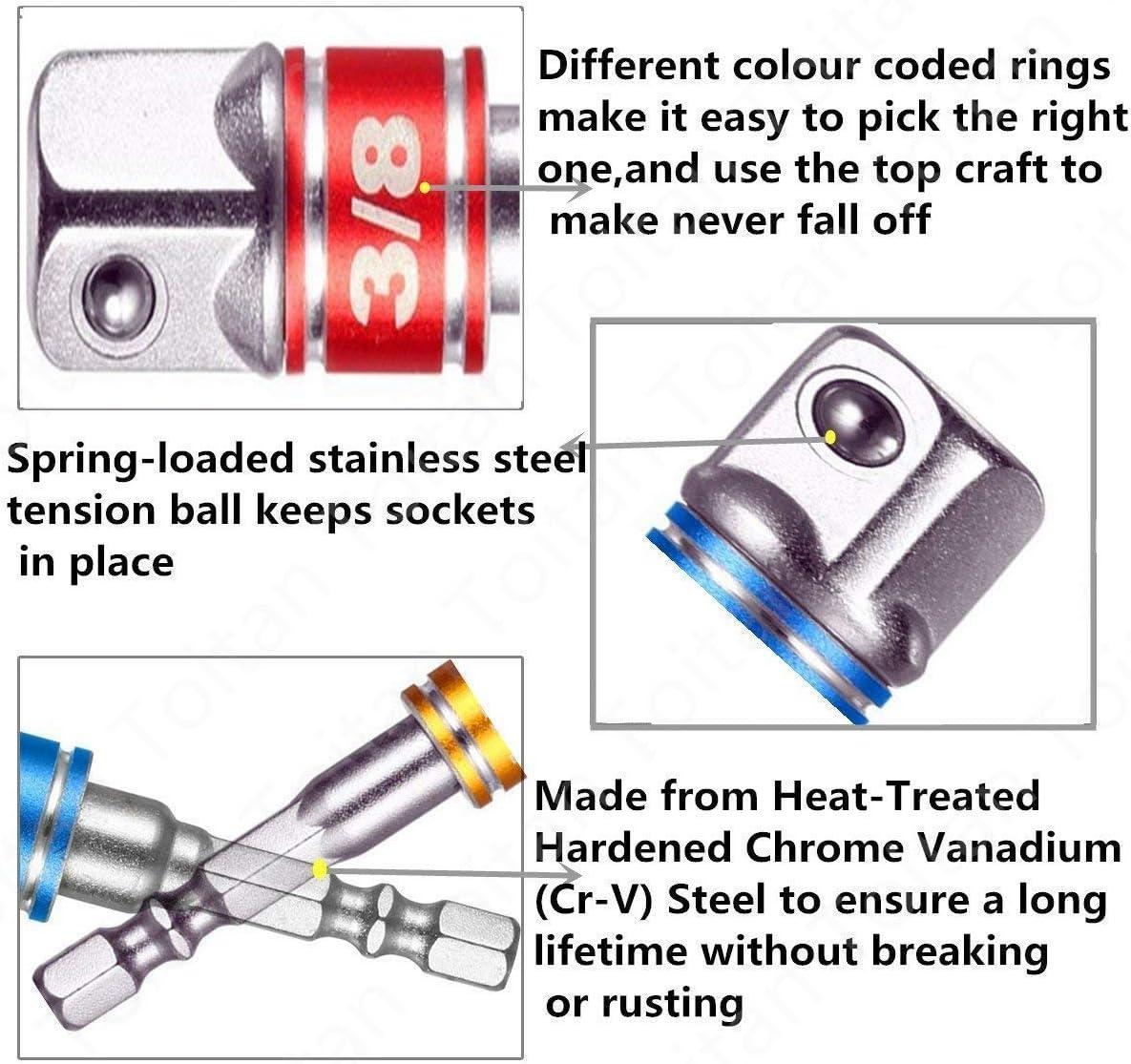 3Pcs 1//4 3//8 1//2Hex Shank Impact Grade Driver Socket Adapter Drill Bit Set+105 Right Angle Drill Degree Adapter Attachment 1//4 Drive 6mm Hex Magnetic Bit Socket Screwdriver Holder Adaptor