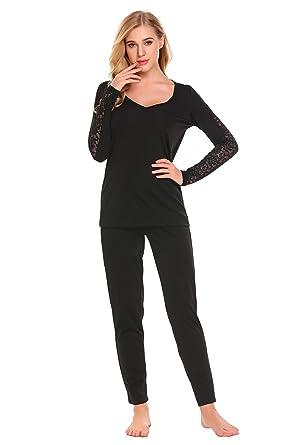 5be9f17b3b etuoji Pajamas Women s Long Sleeve Lave Sleepwear Soft PJ Set at ...