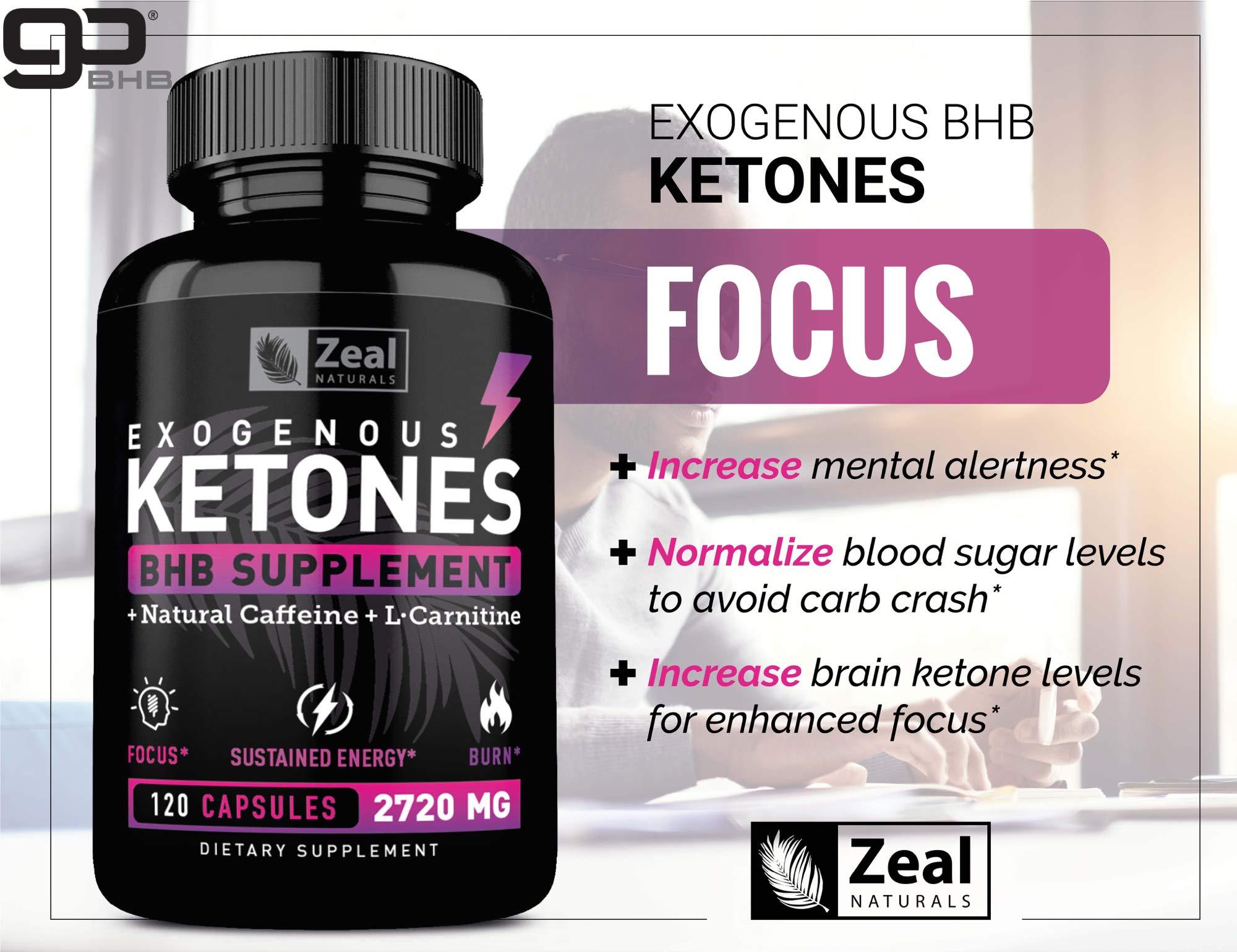 Keto BHB Exogenous Ketones Pills (2720mg | 120 Capsules) Keto Pills w. goBHB Salts, Natural Caffeine & L-Carnitine - Keto BHB Oil Capsules Beta Hydroxybutyrate for Weight Loss Keto Vitamins Keto Salts by Zeal Naturals (Image #7)