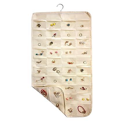 Amazoncom ComboCube Beige 80 Pockets Hanging Jewelry Organizer