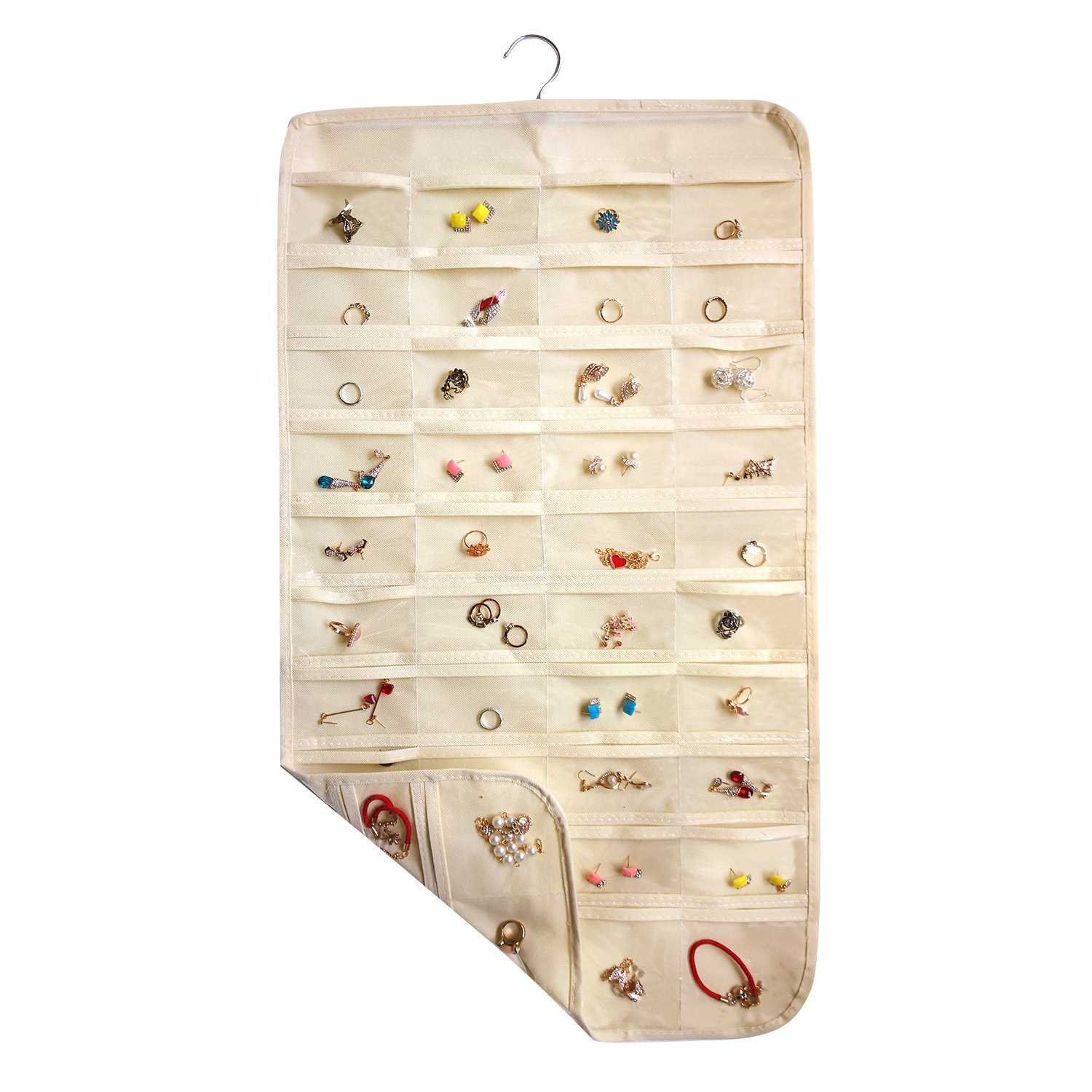 ComboCube Beige 80 Pockets Hanging Jewelry Organizer(Hanger Included)