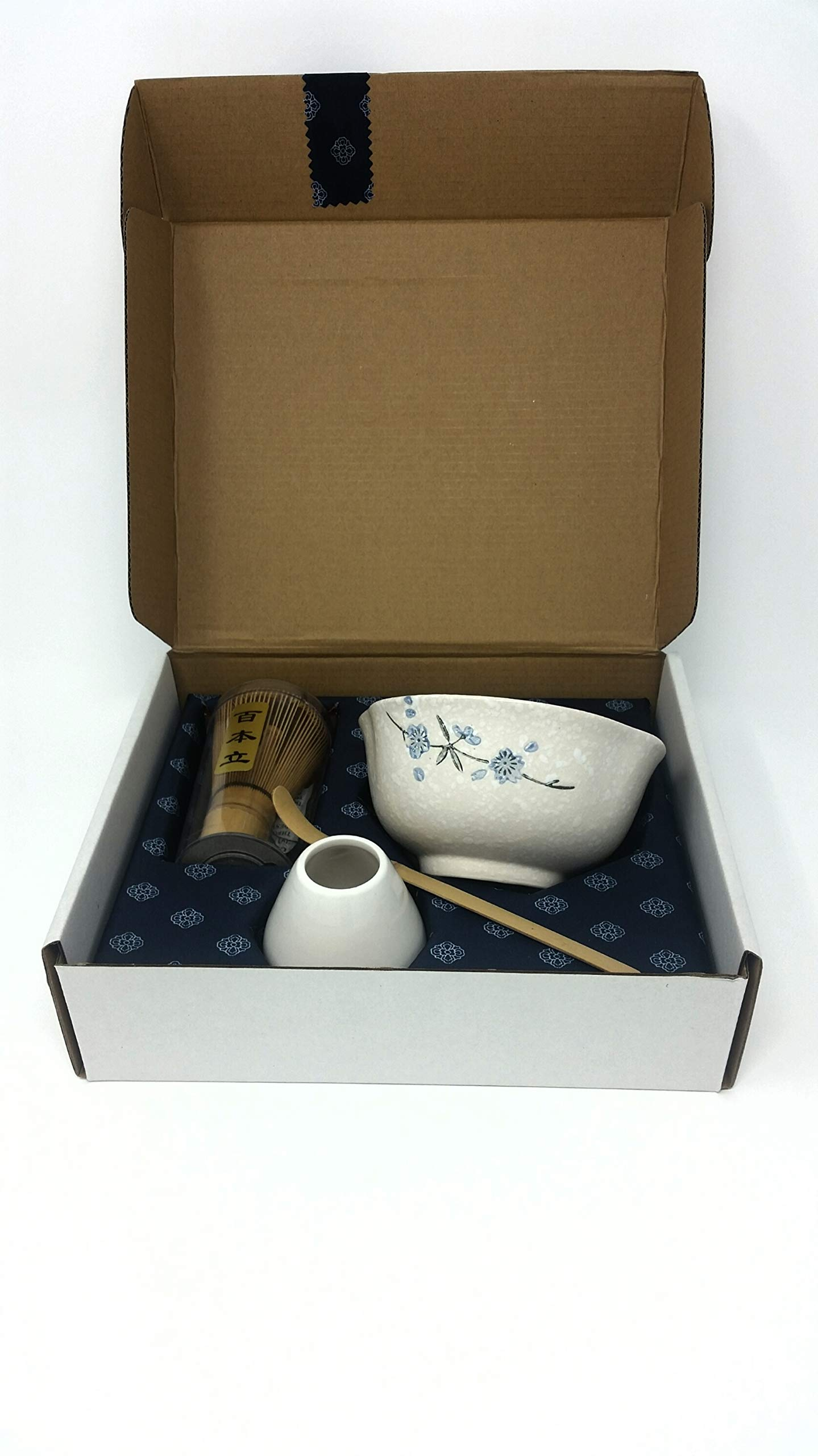 Matcha Green Tea Gift Set Includes Blue Blossom White Matcha Bowl, Whisk, Stand and Scoop for Traditional Japanese Tea Ceremony or Everyday Use