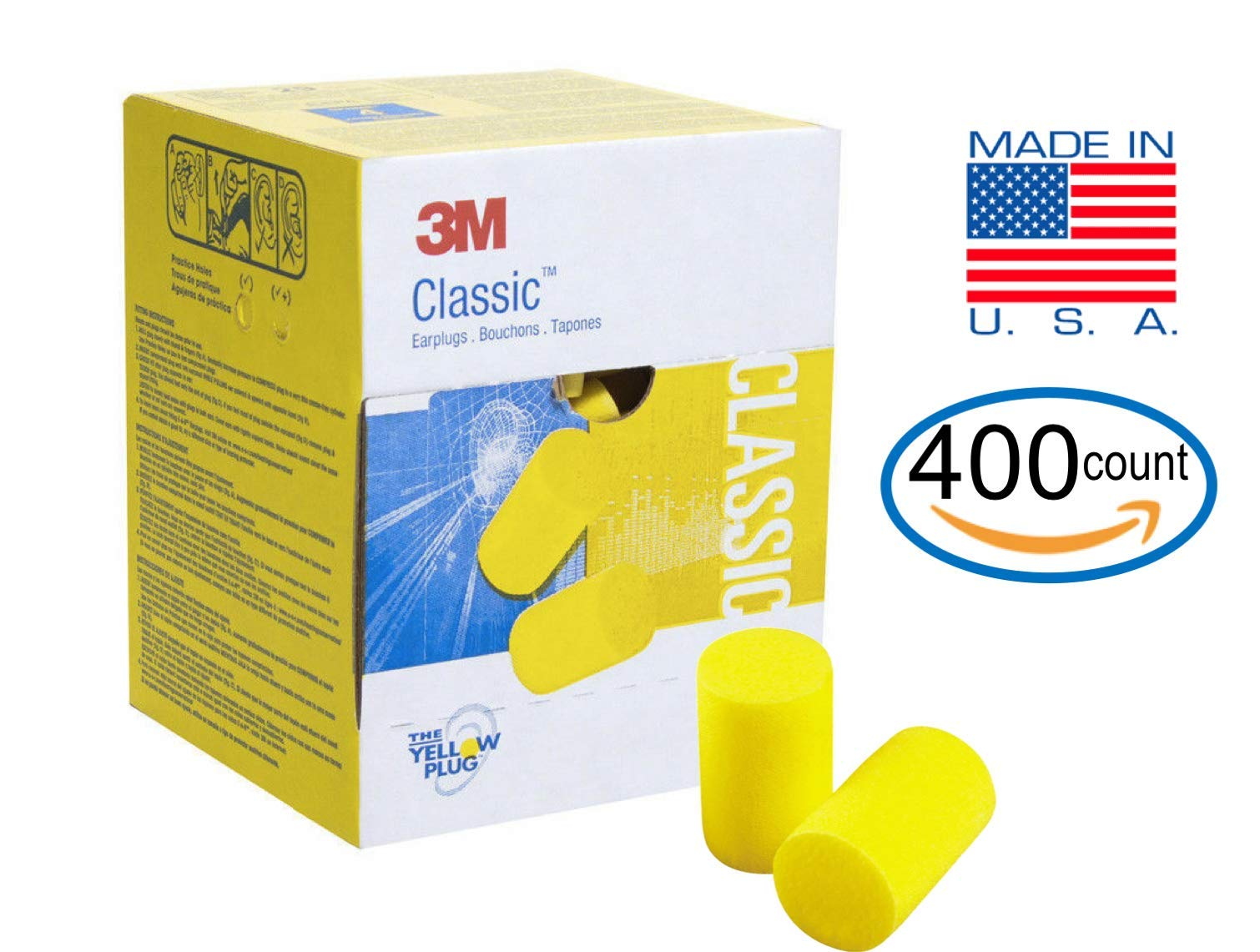 3M Classic Earplugs 200 Pair (400 Count) in Bulk Value Pack, E.A.R Foam Ear Plugs