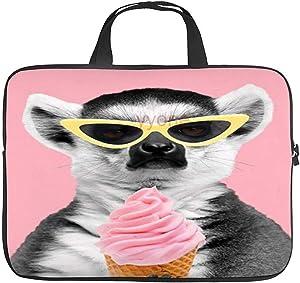 Neoprene Sleeve Laptop Handbag Case Cover Lemur with Ice Cream Patchword Portable MacBook Laptop/Ultrabooks Case Bag Cover 12 Inch