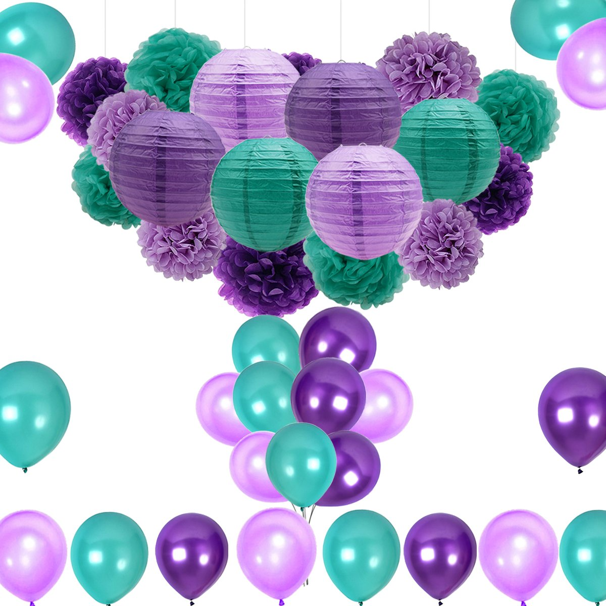 Mermaid Party Decorations/Under the Sea Party Supplies 36pcs Teal Lavender Purple Pom Poms Lanterns Balloons for Mermaid Birthday Party Supplies Baby Shower Decorations Frozen Party Supplies