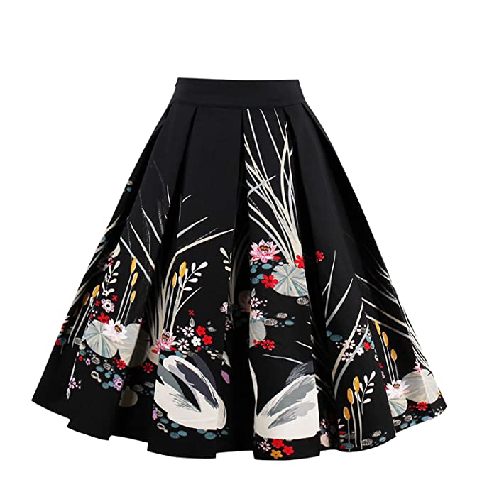 c1d2d3b7a0d1 Jolisson Womens Summer Skirts A-Line Vintage Midi Pleated Dress High Waist  Bohemia Floral Knee Length Skirt  Amazon.co.uk  Clothing