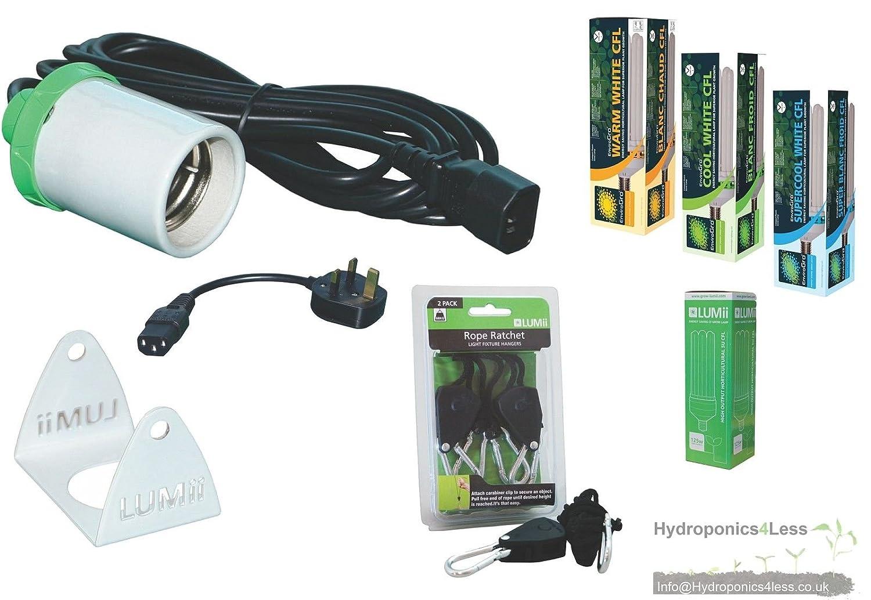CFL Lamp Holder Grow Light Bulb Complete Kit Cord Hydroponics UK Plug LUMii (Cool White (Blue) 125w) hydroponics4less