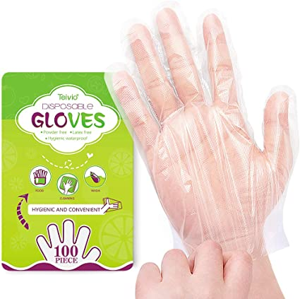 100pcs Plastic Kitchen Disposable Gloves Food Safe Hand Protect Cleaning Gloves