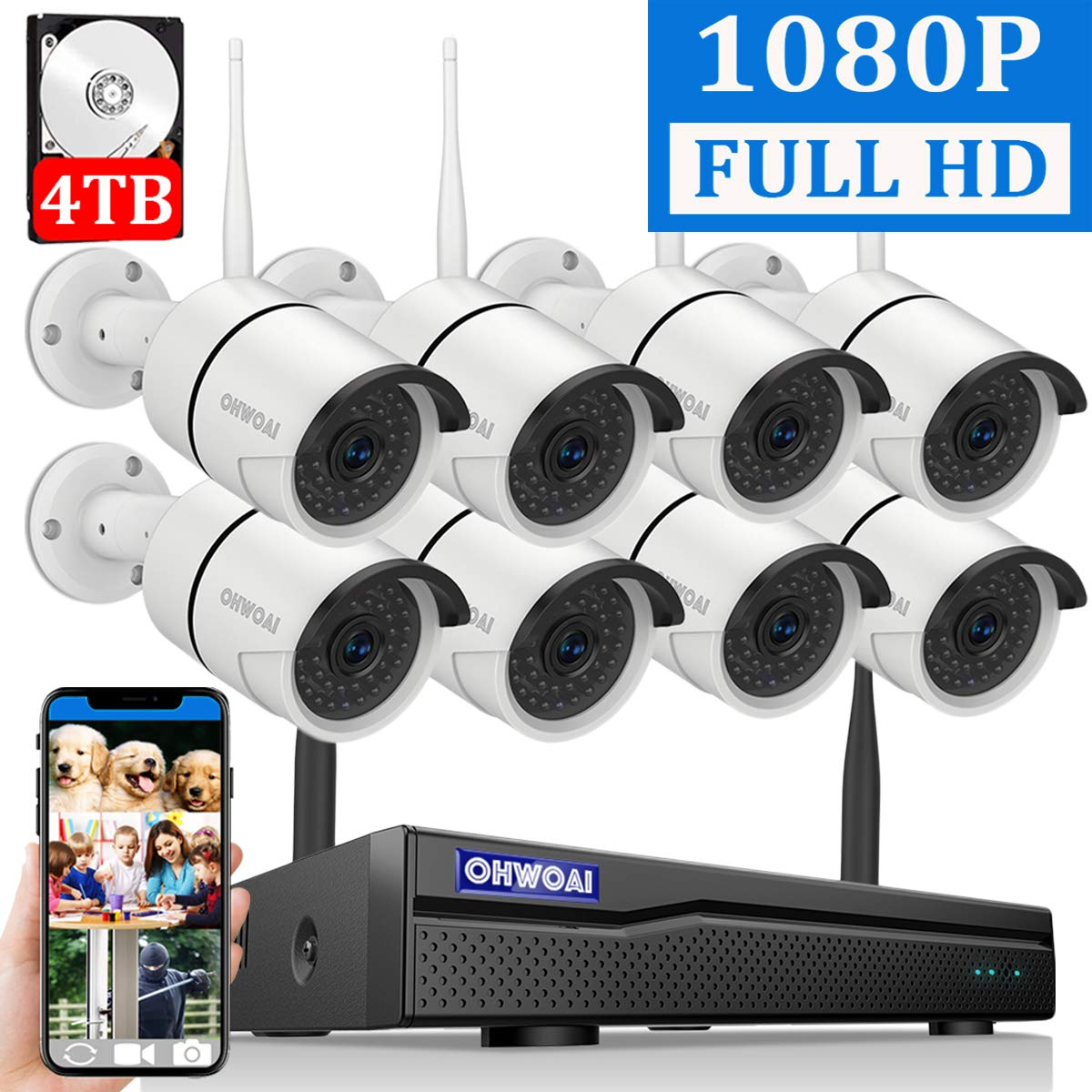 ?2019 New? Security Camera System Wireless, 4TB Hard Drive Pre-Install 8 Channel 1080P NVR, 8PCS 1080P 2.0MP CCTV WI-FI IP Cameras for Homes,OHWOAI HD Surveillance Video Security System.