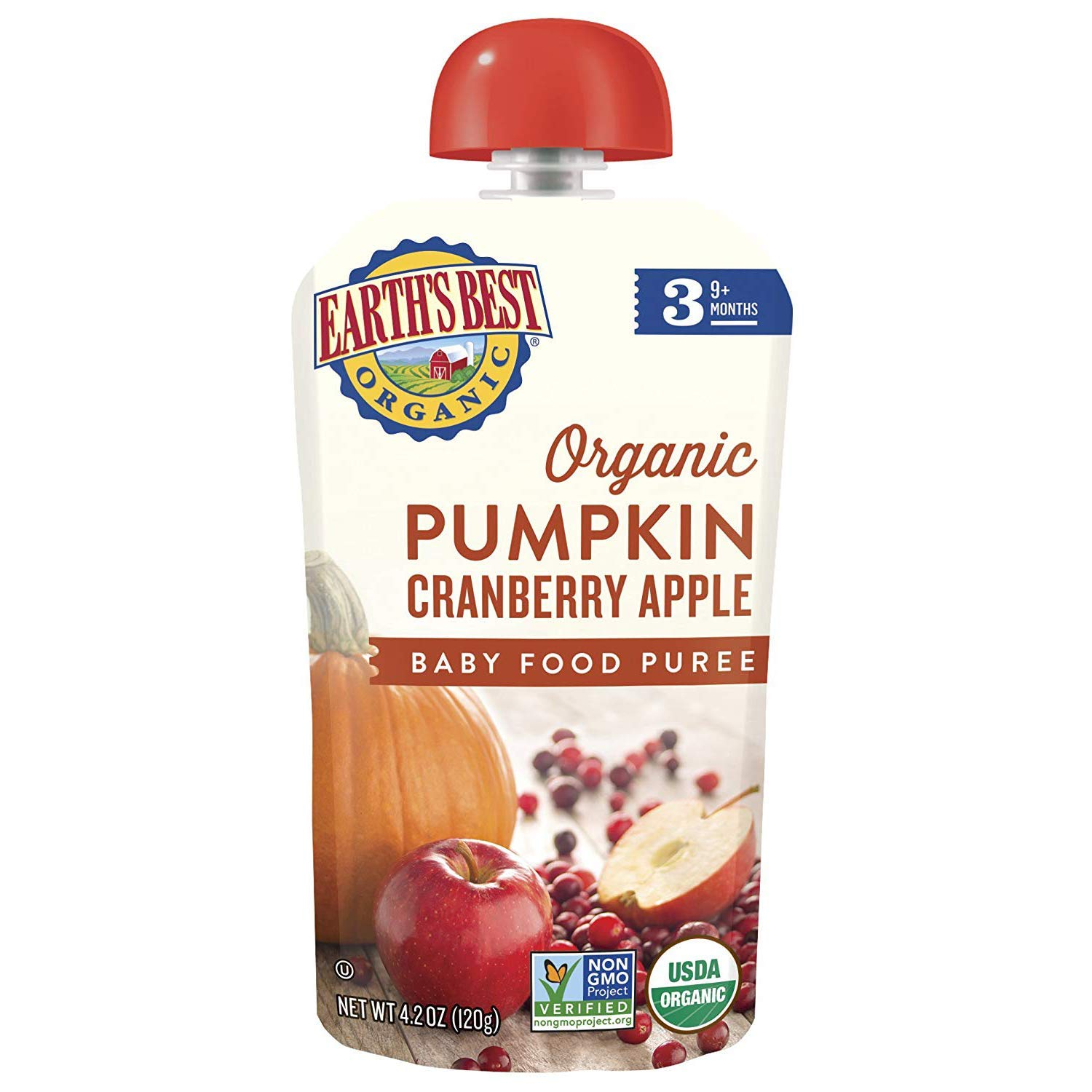 Earth's Best Organic Stage 3 Baby Food, Pumpkin Cranberry Apple, 4.2 Oz Pouch (Pack of 12) (Packaging May Vary)