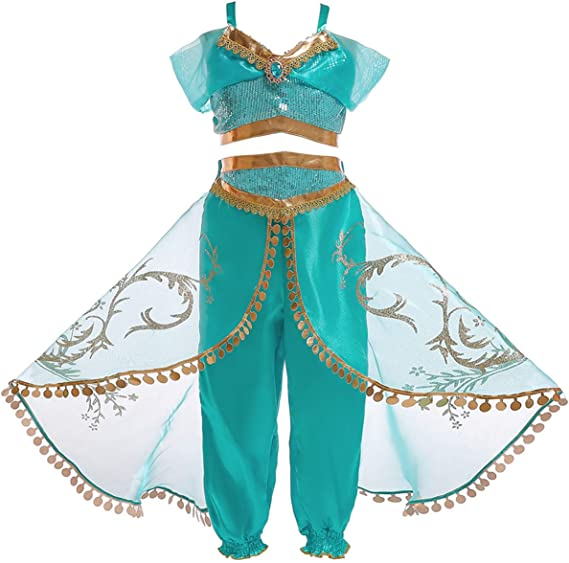 Monissy Niña Aladdin Princesa Jasmine Disfraz Tops Pantalones ...
