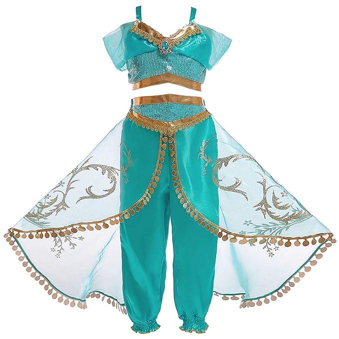 Monissy Niña Aladdin Princesa Jasmine Disfraz Tops Pantalones Manga Corta Traje Cosplay Actuación Carnaval Navidad Regalo Cumpleaños Danza Vientre ...