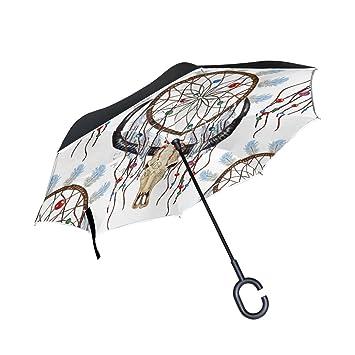 COOSUN Buffalo calavera y atrapasueños patrón doble capa inverso paraguas para coche y uso al aire