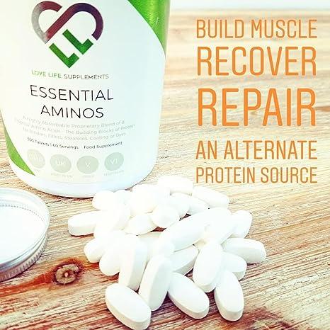 LLS aminoácidos esenciales (EAA) | 300 pastillas / 60 porciones | 5-10g por porción | 8 aminoácidos esenciales absorbibles | Producido en el Reino ...