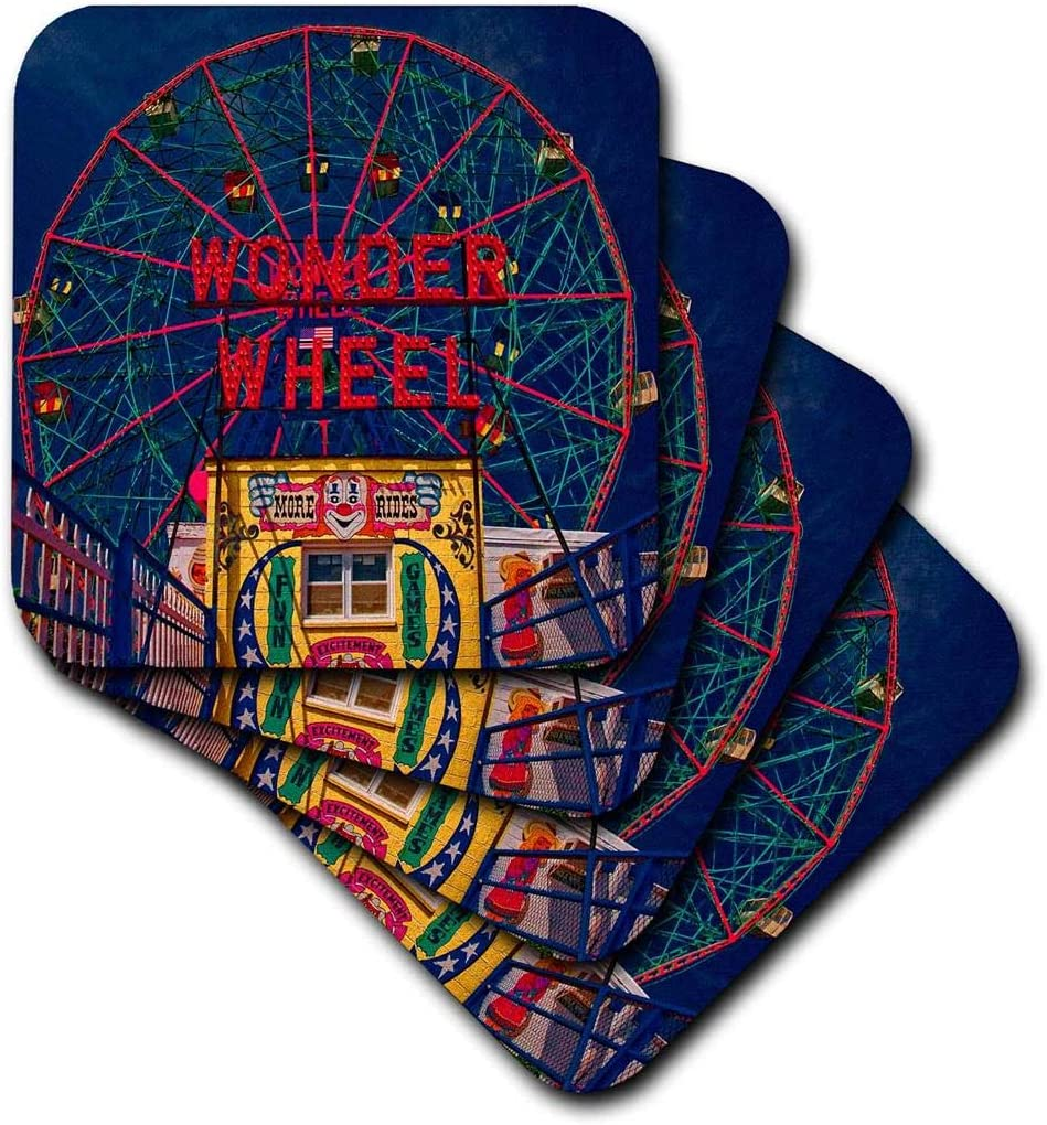 3dRose cst_55991_1 Wonder Wheel Coney Island-Soft Coasters, Set of 4