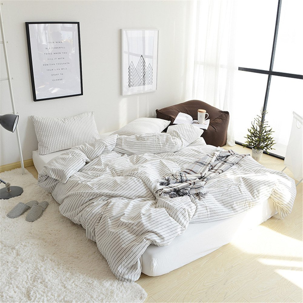 YEVEM Soft Striped Pattern White Duvet Cover Set Twin 100% Washed Cotton Breathable 3 Piece Bedding Set for Kids Teens (1 Duvet Cover,2 Pillowcases) (Twin, Style 1) YEVEVM
