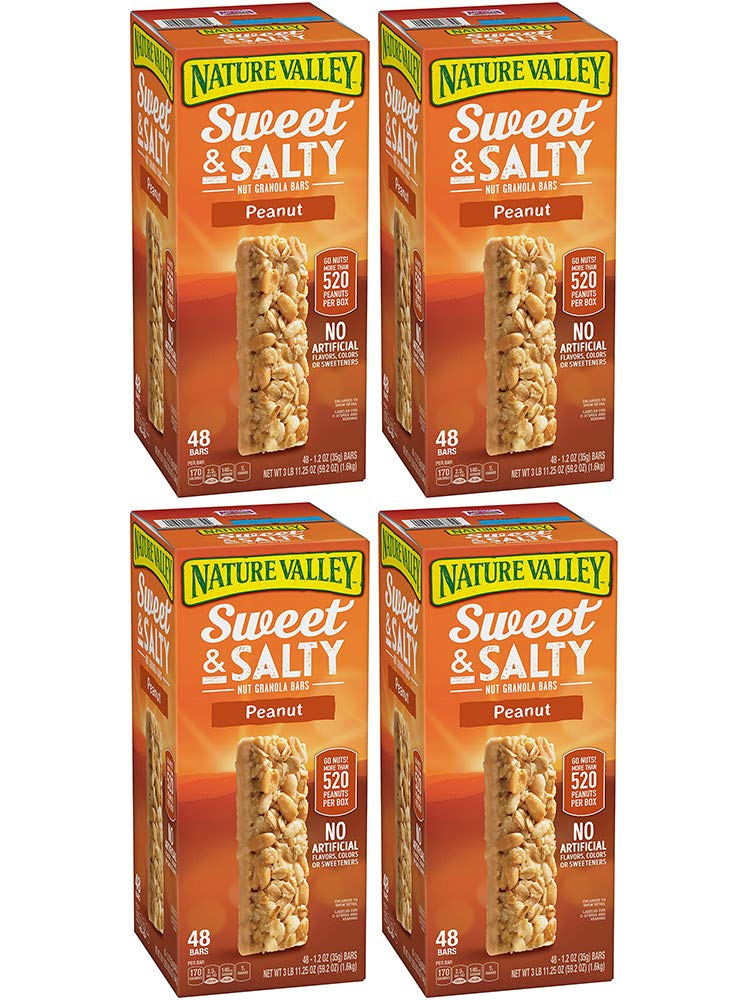 Nature Valley Sweet and Salty Granola Bars Peanut dipped in Peanut Butter Coating, 48 Bars (4 Boxes)