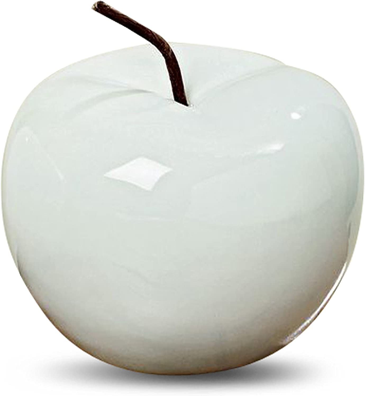 5 Inches Diameter x 4 3//4 High Inches Pearly White WHW Whole House Worlds Farm Fair Decorative Apple Brown Stem