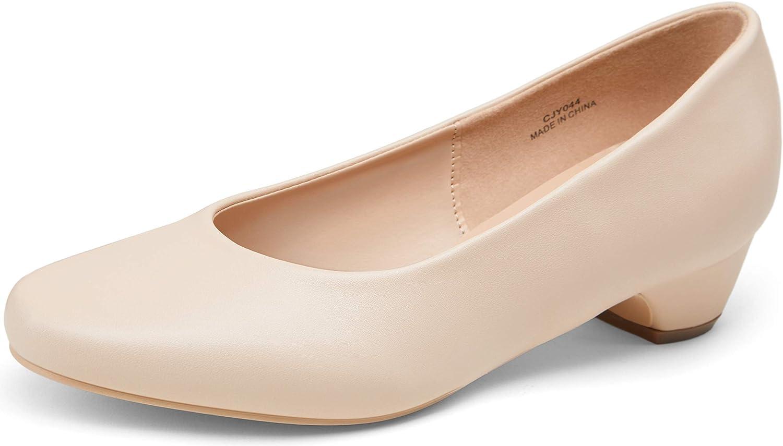 VEPOSE Women's Low Chunky Heel Pumps