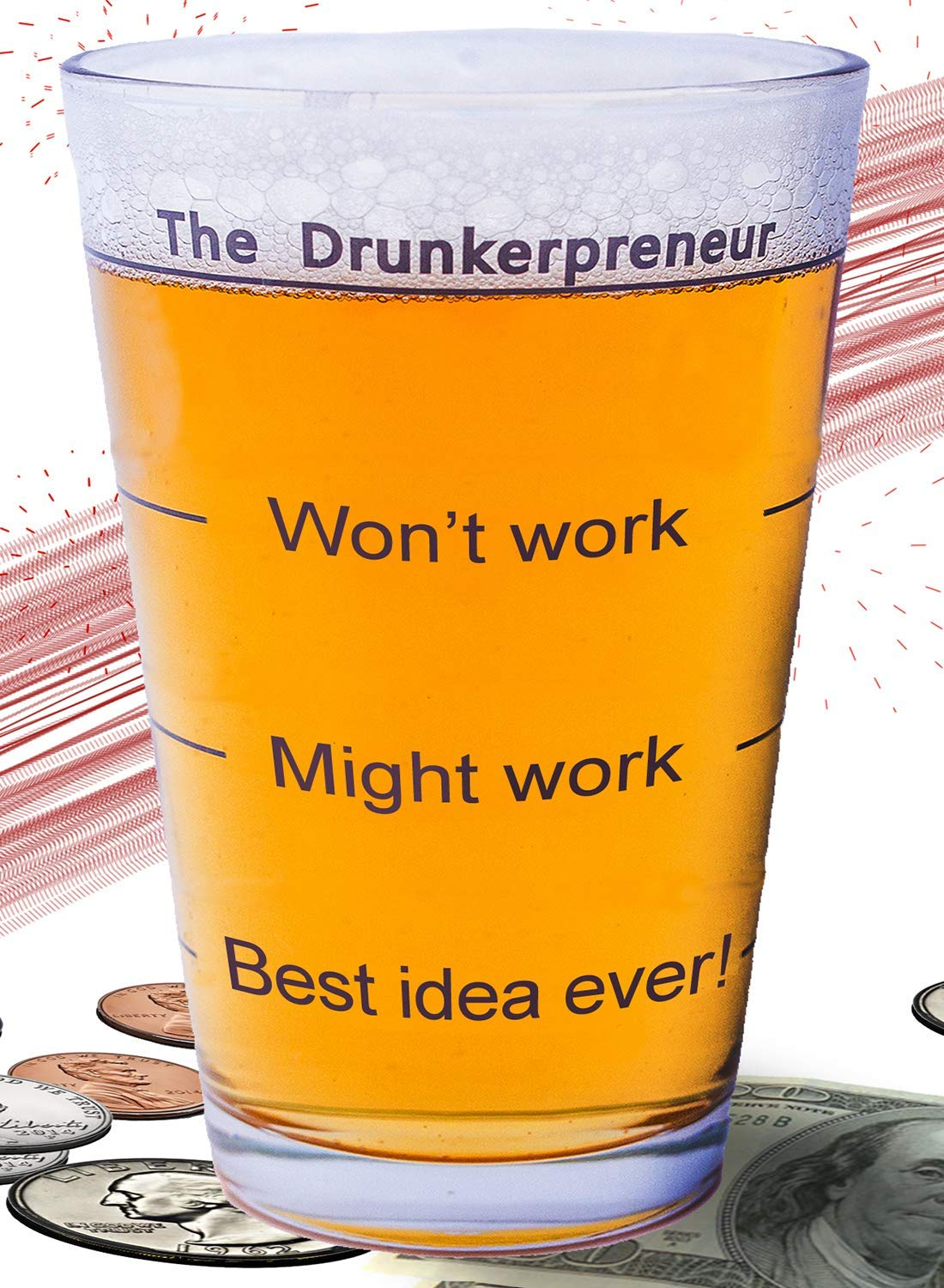 Funny Brainstorming Glass - the DrunkerPreneur Beer Mug. Holiday Present for Dad, Entrepreneurs, Boss, Businessman and Woman. 16 Ounces Pint Glasses Beer Gifts Gift for entrepreneurs