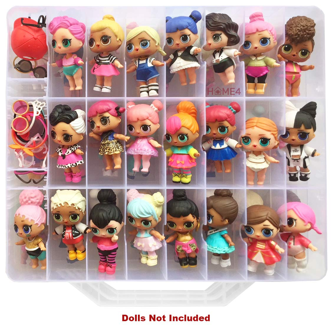 HOME4 Double Sided Storage Container - Toy Organizer Case - 48 Compartments - Perfect for Small Dolls and Toys - Dolls Not Included (Clear)