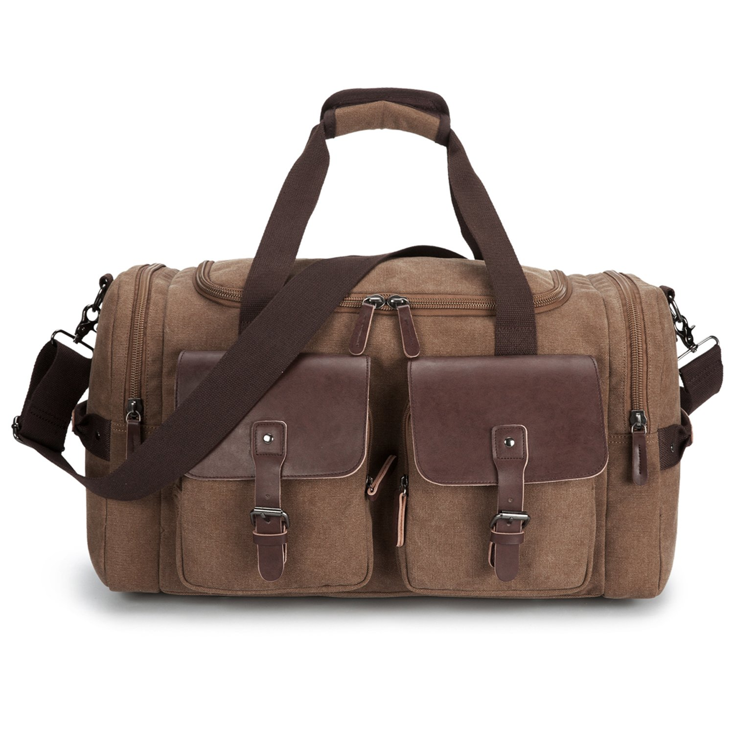 Leather Overnight Duffle Bag Canvas Travel Tote Duffel Weekend Bag Luggage (Coffee)