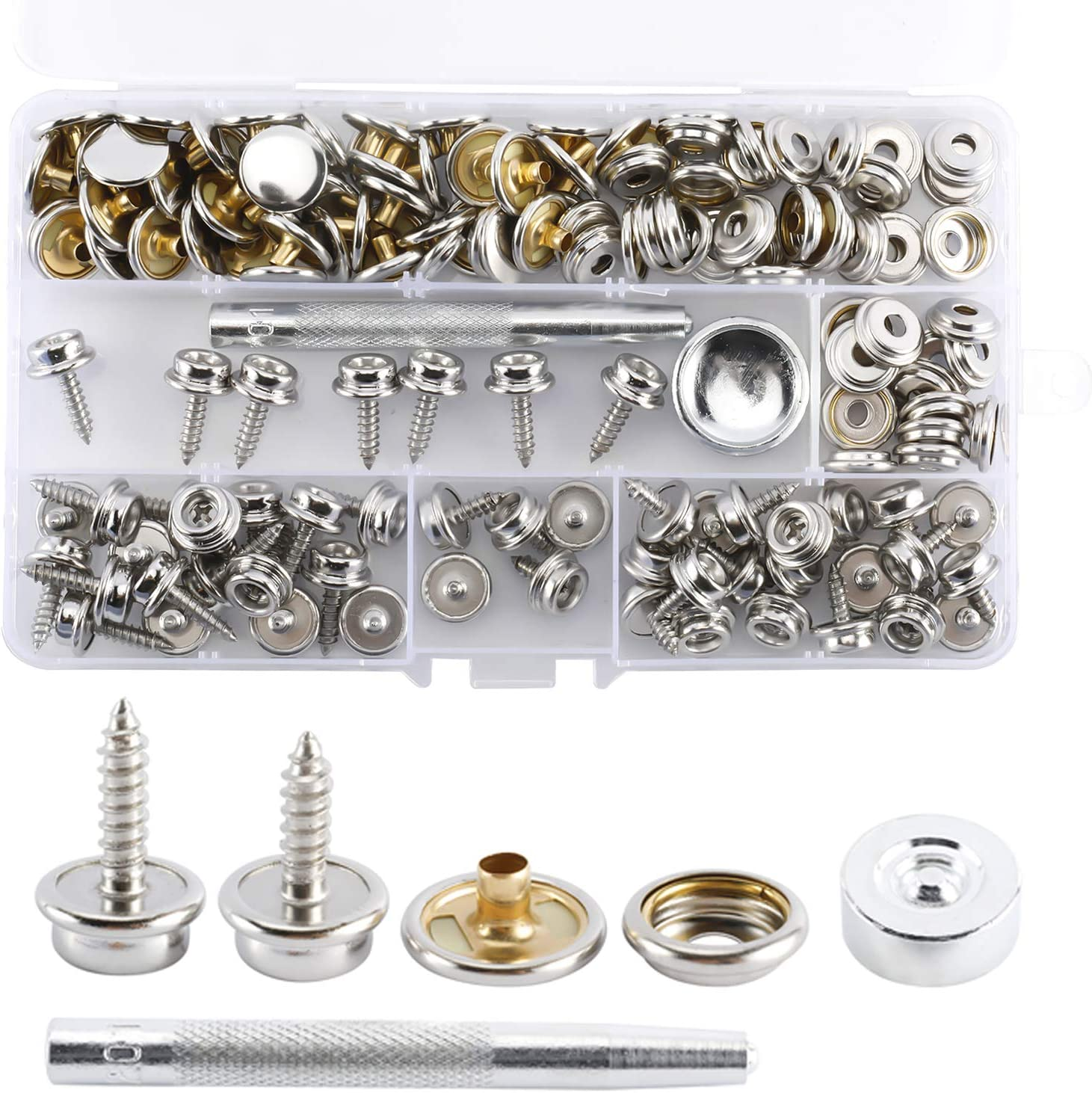 NovelBee 150 Pieces Boat Cover Snap Screw Kits Tool with Stainless Steel Snap Button Socket Screws and Setting Tool