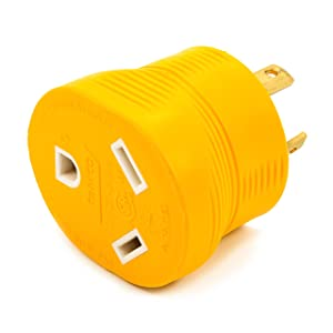 Camco Heavy Duty PowerGrip 30 amp 3 Prong Generator Adapter for RVs andAutos - Contoured Shape For Easy Grip and Removal | 125 Volts & 3750 Watts -(55333)